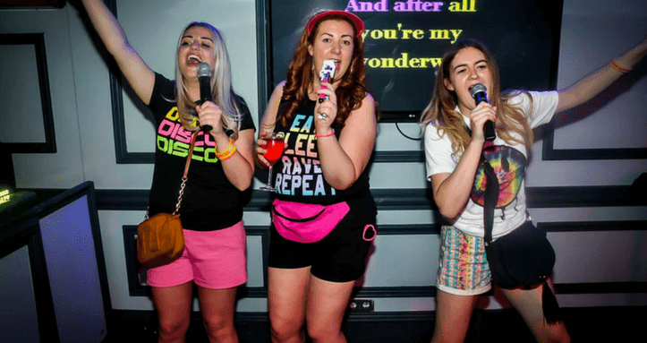Hens on a Karaoke night in Magaluf Bar