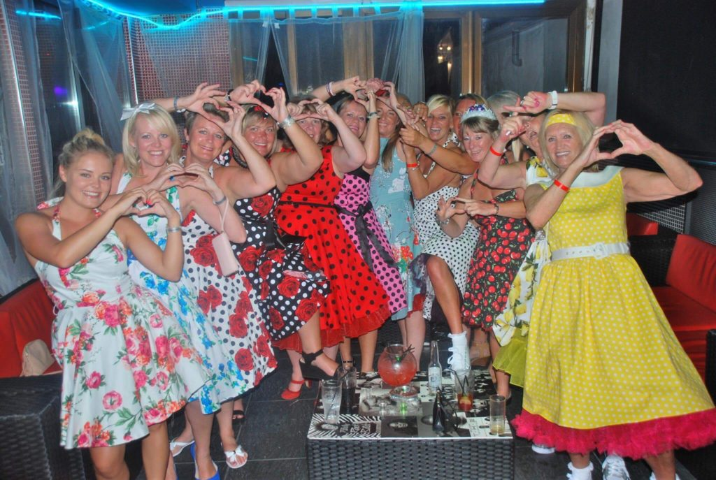 ladies in fancy dress on hen party in Magaluf